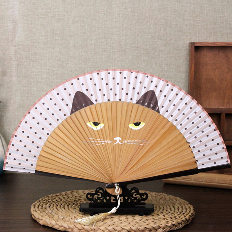 2 Style New Cute Cartoon Cat Folding Silk Fan Handheld Fan Hollow Out Hand Folding Fans Outdoor Dancing Wedding Party Decoration
