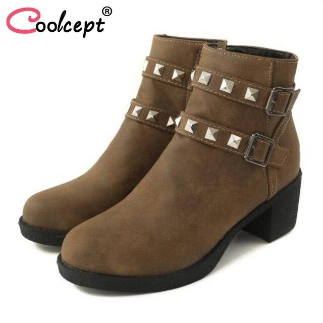 Coolcept Kadınlar Yüksek Topuklu yarım çizmeler Moda Fermuar Sıcak Kürk Ayakkabı Kadın Perçinler Toka kısa çizmeler Kış Ayakkabı Boyutu 33-44