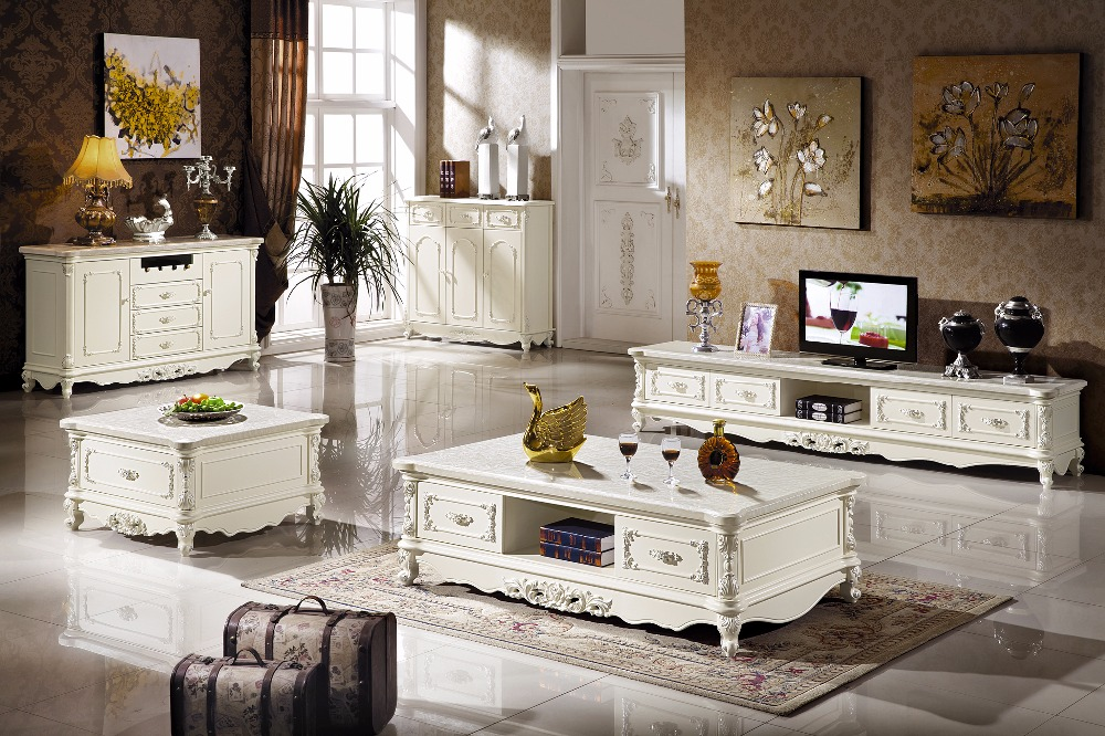 White wooden living room set coffee table end table tv stand console table made in china for White end tables for living room