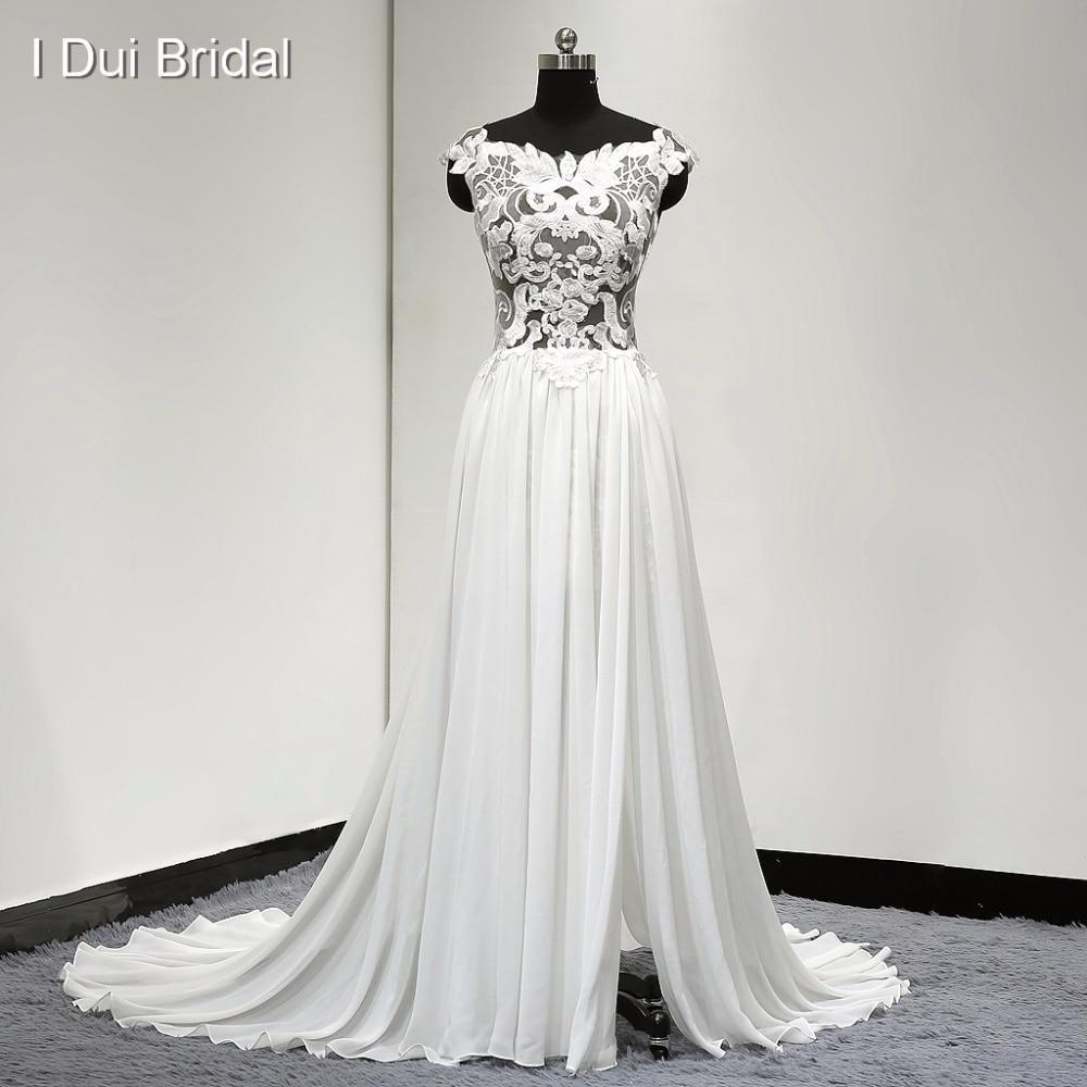 Scoop Illusion Corset Lace Appliqued Wedding Dresses Split Leg Chiffon A line Cap Sleeve 2017 New Design Real Photo