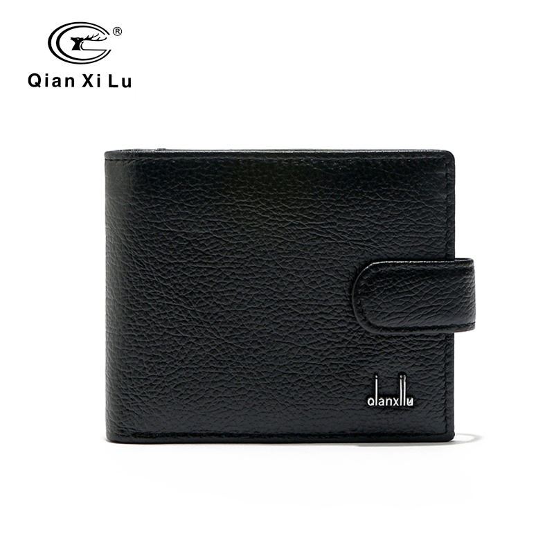 Casual Genuine Leather Short Wallet for Men,Black Cowhide Purse Coin Pocket High Quality