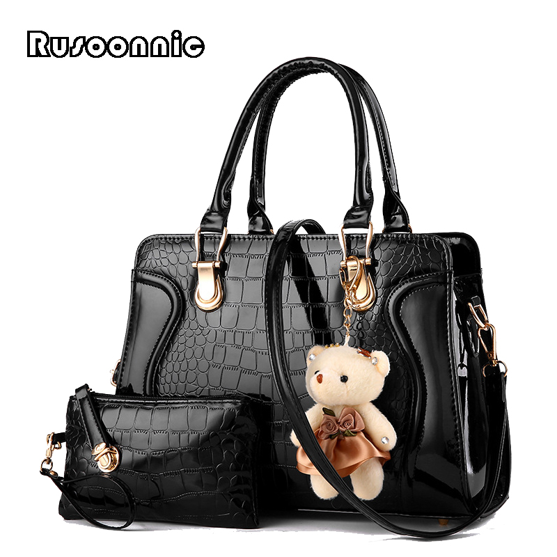 Rusoonnic Women Handbag Set Designer Ladies Composite Bag Pu Leather Shoulder Bags Alligator Tote Bolsos Mujer mochila rusoonnic women handbag set designer ladies composite bag pu leather shoulder bags alligator tote bolsos mujer mochila