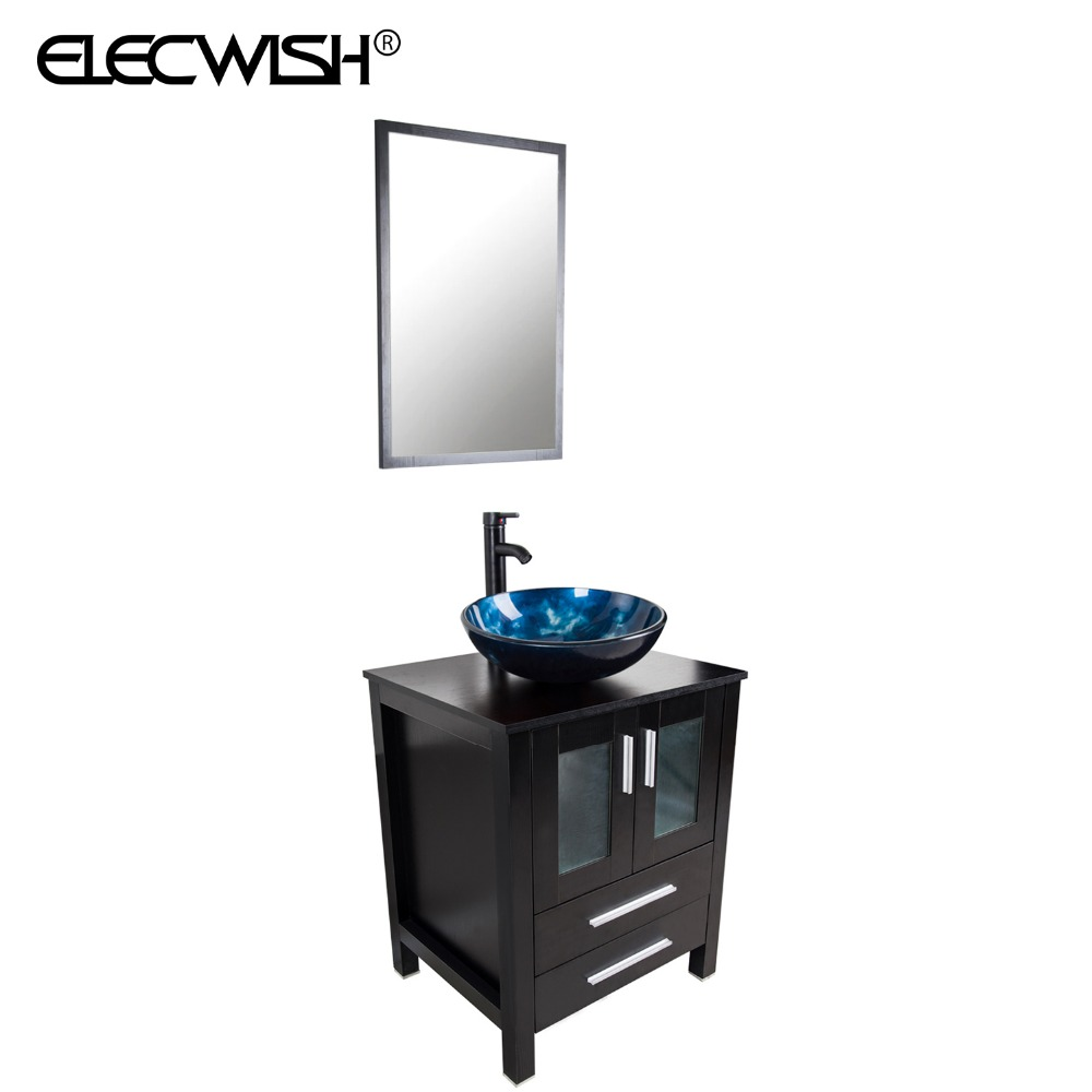 Elecwish 24 modern bathroom vanity stand pedestal cabinet for Stand up bathroom cabinet