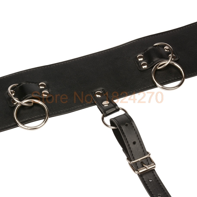 Plus Size PU Leather Underwear Chastity Belt Magic Wand Holder Fetish Bondage Vibrating Panty Harness Sexy Lingerie for Women
