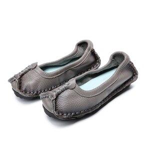 Image 4 - BEYARNE 2019 נשים נעלי עור אמיתיות נשים צבעים מעורבים נעליים יומיומיות בעבודת יד רך נוח נעלי נשים FlatsE003