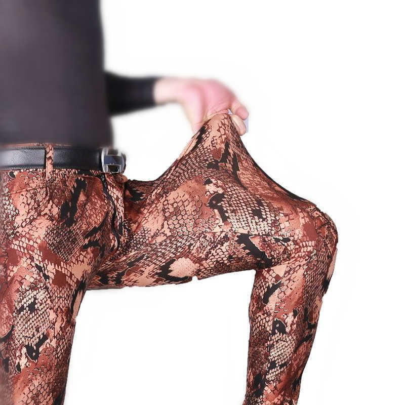 Milk Wire Thin Style Men Fad Trouser Camouflage Tactical Stylish Soft Casual Feet Pants Printing Snake High Elastic Pencil Pants Skinny Pants
