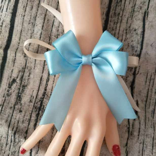 56 Warna Buatan Tangan Merah Anggur Blush On Blue Gray Gold Karangan Bunga Pita Pengantin Pergelangan Tangan Korsase Tangan Busur untuk Pernikahan Pengantin Pergelangan Tangan bunga
