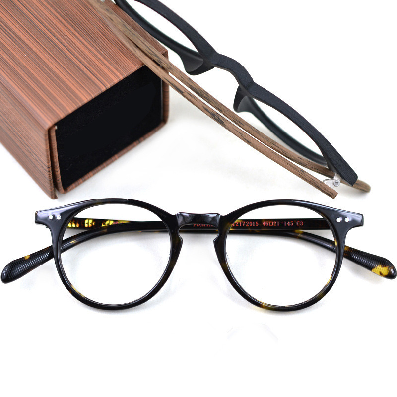 Products Handmade Vintage Round Acetate Eyeglassses Prescription Frames men Wooden Retro Optical Glasses Frame For Women Amber
