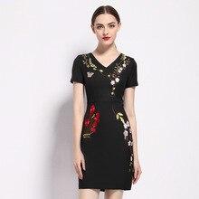 Лето, v-образный вырез, вышивка, короткий рукав, талия, сумка для ремонта, ягодицы, вышитое платье