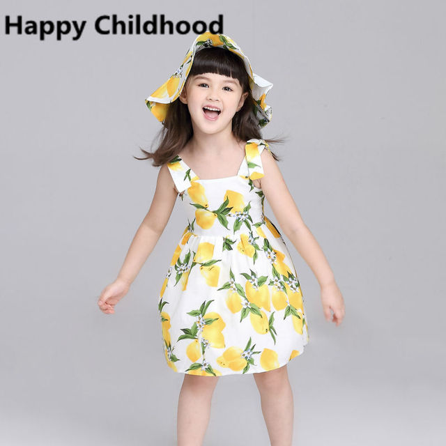 2016 Verão Bonito Vestido Da Menina de Amarelo Limão 2 pc crianças vestidos para meninas 3-13Y meninas roupas sem mangas do vestido de casamento + chapéu