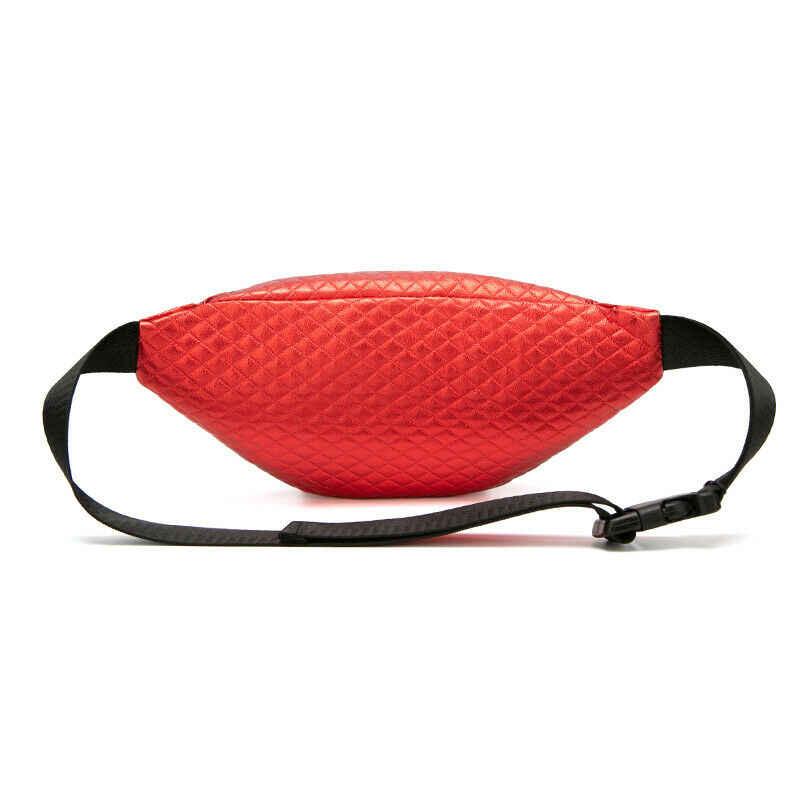 面白い女性 Pu レザーレーザーウエストポーチ防水スポーツランニングベルトバッグボムパック