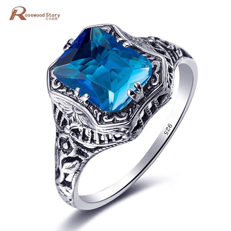 Zomer Charmante Vintage Vrouwen Ring Fijne Sieraden Echte Oostenrijkse Blue Crystal Soild 925 Zilveren Ring Maat 5/6/7/8/9 Groothandel