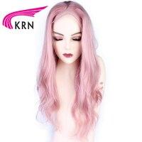 КРН розовый цвет Синтетические волосы на кружеве натуральные волосы парики с волосами младенца 13X3 Реми волнистые волосы предварительно со