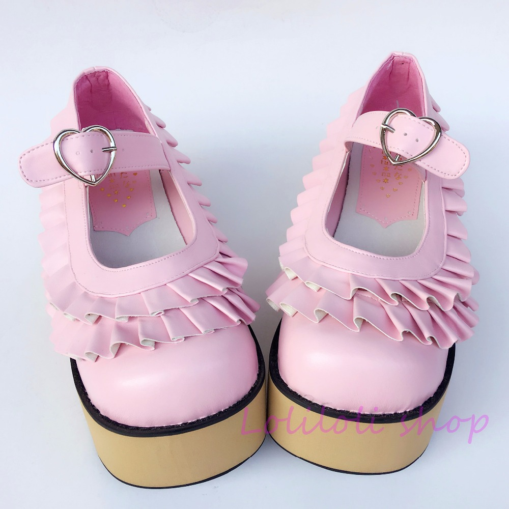 Princess sweet lolita shoes Japanese design customized special shaped wooden pattern platform shoes 9238 blue