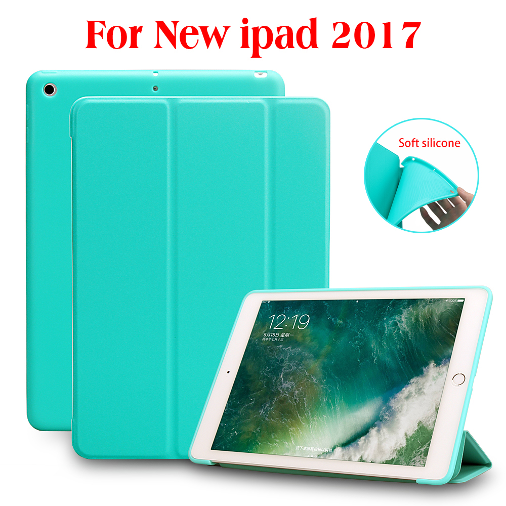 Case for iPad 9.7 2017, PU Leather Front Cover+Soft TPU Silicone Back Cover+PC  Auto Sleep Smart case for New iPad 2017 Release nice case for apple 2017 ipad air 1 new 2 cover 9 7 magnetic protect smart pu leather tpu silicone soft 360 rotating case cover