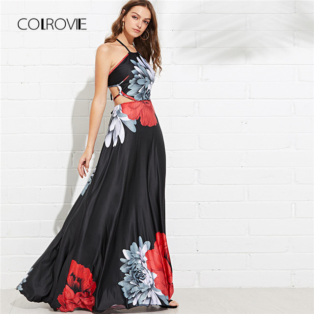 COLROVIE Black Cut Out Criss Cross Back Floral Halter Summer Dress 2018  Backless Vacation Maxi Dresses 4c5024d5f0fc
