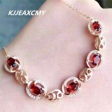 KJJEAXCMY 925 Sterling Silver Natural Garnet Bracelet, inlay jewelry, jewelry, natural jewelry 4mm natural garnet round beads bracelet fashion garnet jewelry bracelet