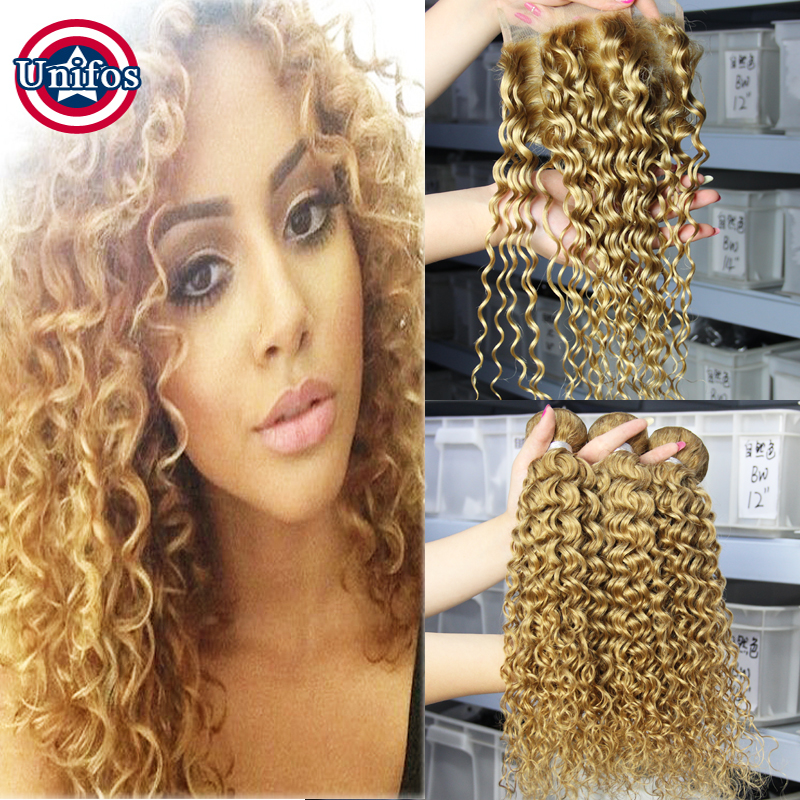 Honey Blonde Brazilian Curly Virgin Hair Extensions With Closure Strawberry Blonde #27 Curly Lace Closure 4×4 3 Bundles Unifos