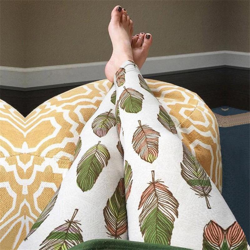 100pcs/lot 2017 Print Women Elastic Legins Women Stretchy Knit Leggins Ankle Length Tribal Printed Casual Skinny Slim Leggings