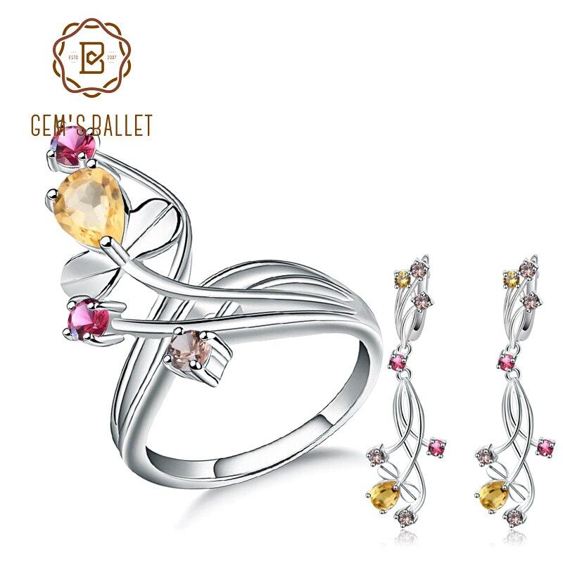 GEM S BALLET Citrine Garnet Smoky Quart Rings Clip Earrings 925 Sterling Silver Natural Gemstone Fine