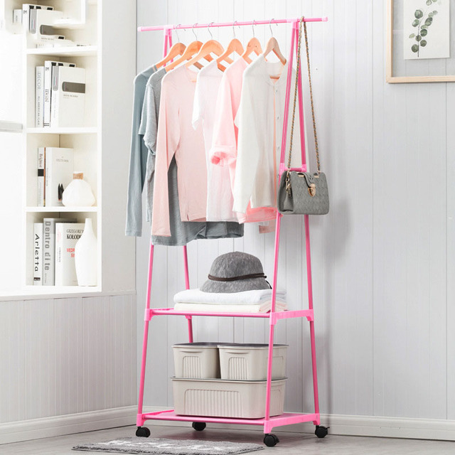 Multi-function Triangle Coat Rack Removable Bedroom Hanging Clothes Rack With Wheels Floor Standing Coat Rack Clothes Hanger 2
