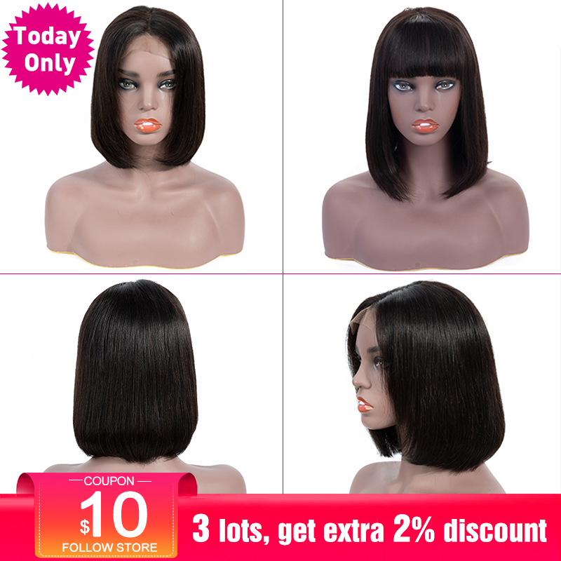 TODAY ONLY Brazilian Straight Lace Front Human Hair Wigs With Bangs For Black Women 13x4 Short