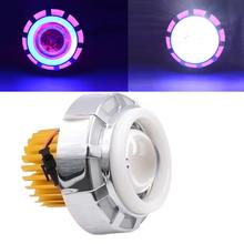 Auto High/Low Beam LED Headlight For Motorcycle Angel Eyes White Devil Eye light Dec19