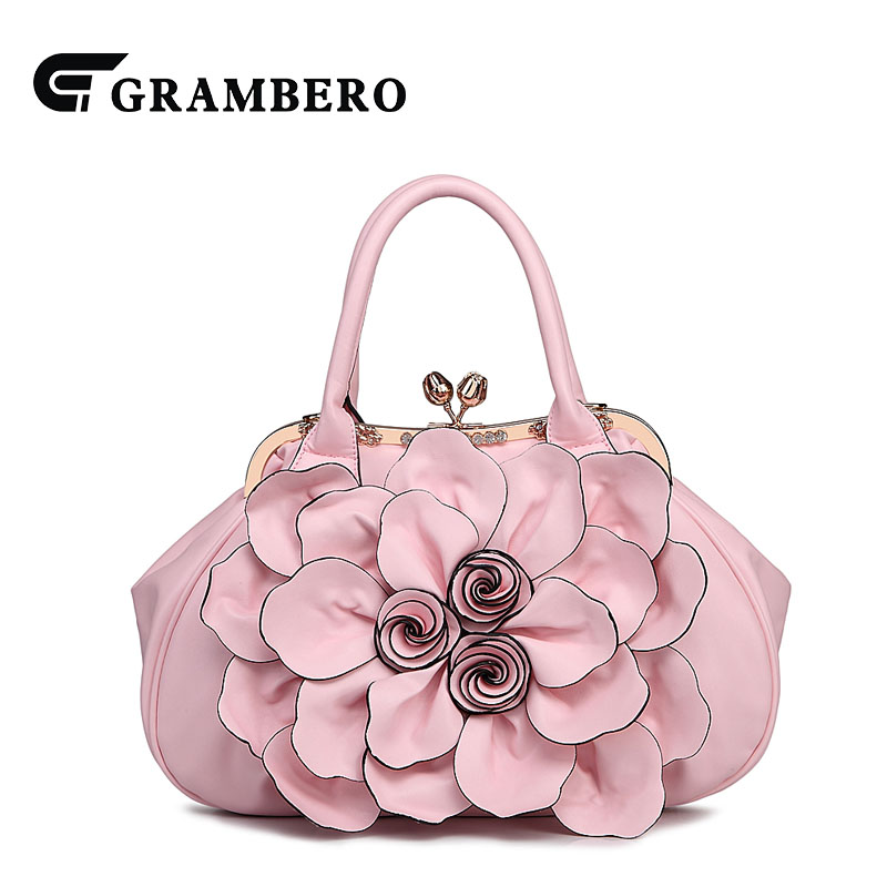Fashion Soft PU Leather Big Flower Handbag Women Evening Bag 2018 New Style Lady Party Shopping Shoulder Top-handle Bags Gifts fashion relief rose flower pattern handbag pu leather genuine leather zipper ring top handle bag lady party shoulder bags gifts