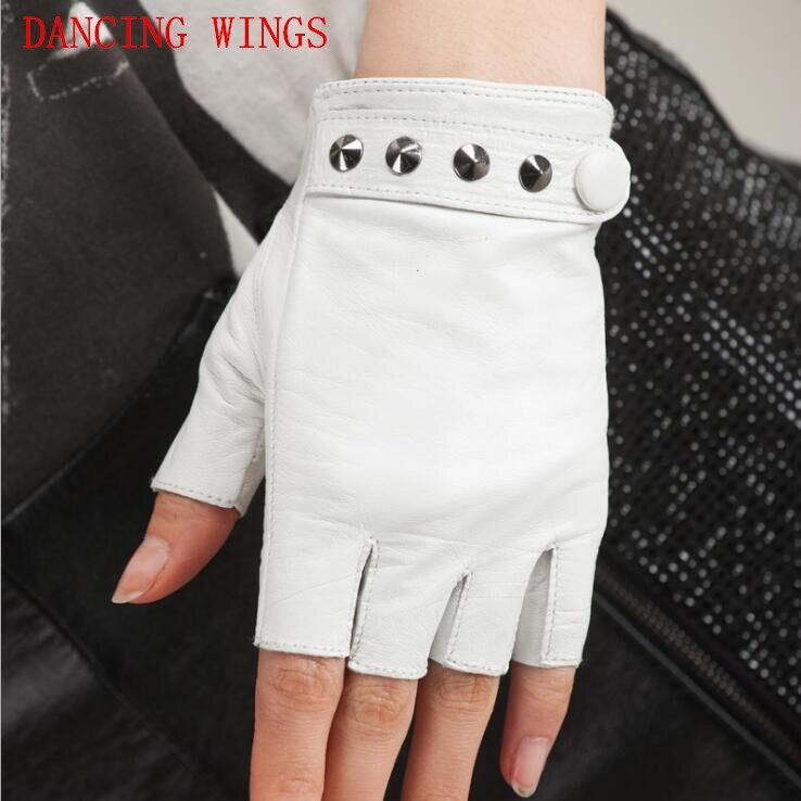 Men Women Sheepskin Tactical Gloves Punk Style Solid Fingerless Gloves Unisex Luvas De Inverno
