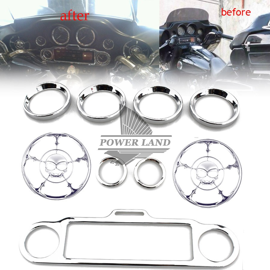 9pcs Chrome Skull Speaker Trim Ring Stereo Accent Speedometer Cover For Harley Ultra Classic Touring Electra Glide 1996-2013