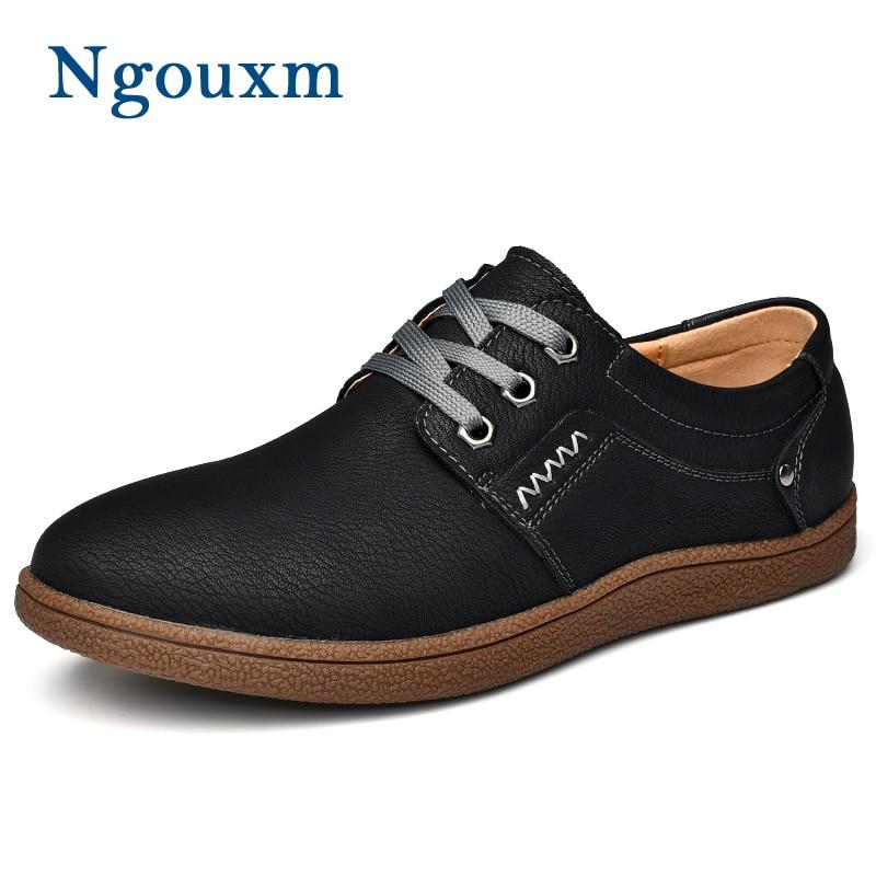 Outono Sapatos De Brown Sneakers Homens Size Calçado Plus Moda marrom up Primavera Nova Homem cáqui Preto Couro red Lace Projeto Casuais Masculino Genuíno Ngouxm fIzq5q