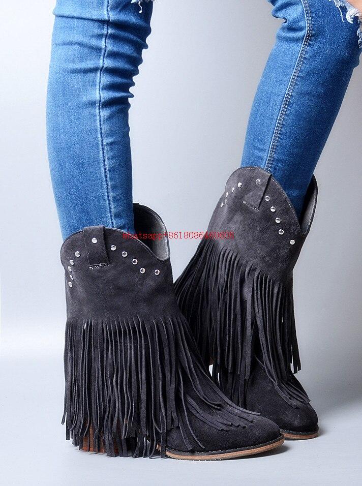 Choudory Bleu Véritable Chaussures Picture Cuir Mujer as Femmes Velet En Fringe 2017 Bottes Botines boy Chelsea Haute De Picture Noir Cow As N8nk0wOZPX
