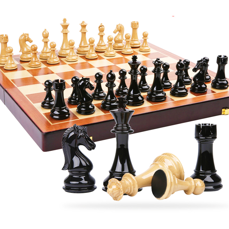 BSTFAMLY wooden chess set game, portable game of international chess, High-grade folding chessboard ABS steel chess pieces, LA2 chess and mathematical thinking