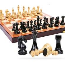 hölzernes Schachspiel, bewegliches Spiel des internationalen Schachs, hochwertiges faltendes hölzernes Schachbrettkunststoffstahl internationales Schach