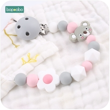 Bopoobo 1pc Baby Pacifier Clips Chains Lovely koala Dummy Clip Food Grad Silicone Chew Beads Baby Teething DIY Baby Teething