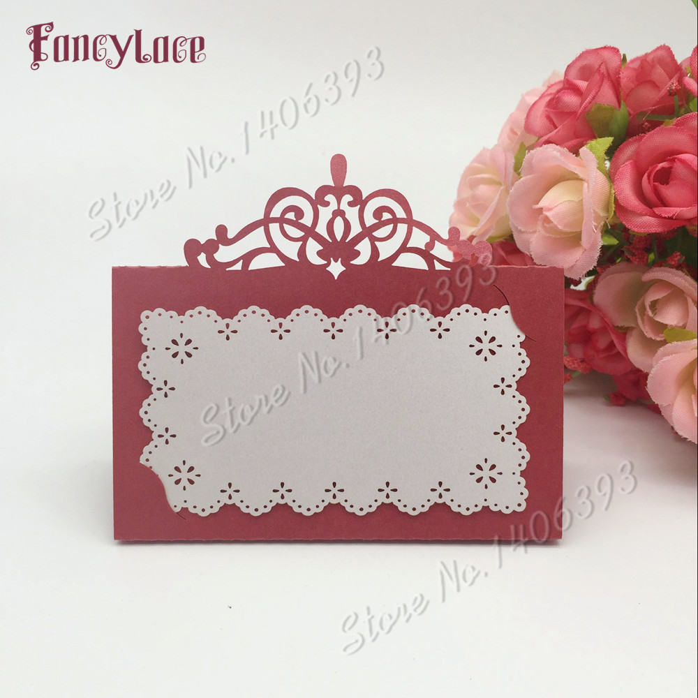 60PCS Laser Cut Name Place Card Cup Paper Card Table Mark Wine Glass ...