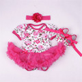 Девочка Принцесса Dress Малыша Девушки Роуз Бальное платье Симпатичные пушистый Туту Dress Baby Fashion Новорожденный Летняя Одежда 3 Шт. набор
