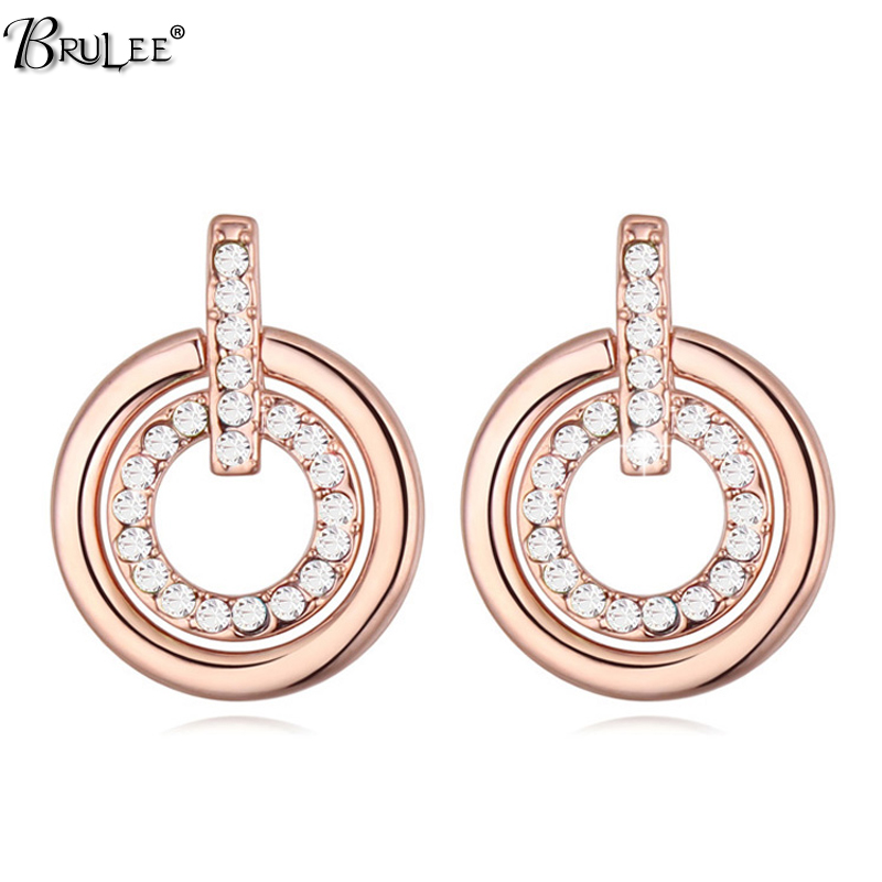 2017 New Fashion pendientes mujer moda Earrings crystal From Swarovski Elements crystal Rose Gold Earrings jewelry