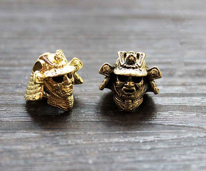 Paracord Beads Japanese Warrior Helmet Metal Charms For Paracord Bracelet Accessories Survival DIY Pendant Buckle Knife Lanyard broad paracord