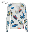 2017 New Autumn Women Fashion Car Printed Cardigan Top Casual V-neck Slim Knitted Sweater Coat WS-015