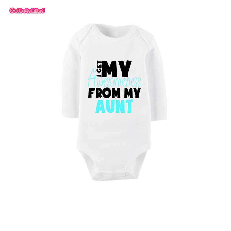 261cf5eb6 Culbutomind I Get Awesome From My Aunt Cute White Long Sleeve Organic  Cotton Baby Unisex Body
