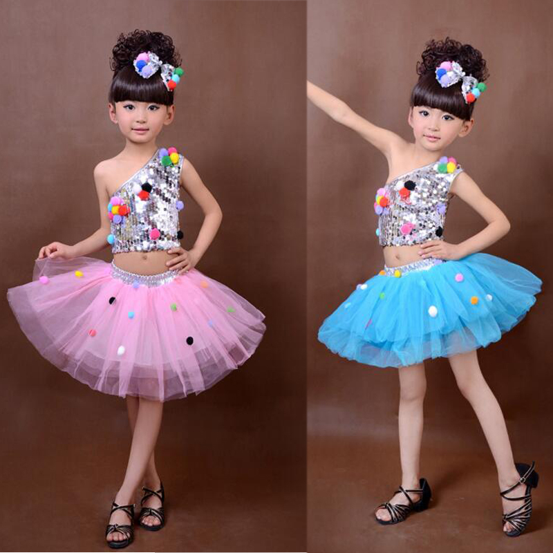 7de161d0af0b 7 Colors Kids Sequined Jazz Tap Modern Dancewear Dress Girls Ballroom Party  Show Dance Costume Children's dancing Outfits-in Ballroom from Novelty &  Special ...