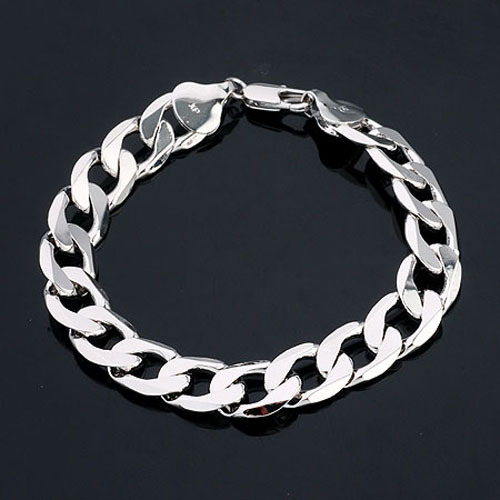 Us 13 99 Free Shipping Real White Gold Gf Mens Bracelet 8 6