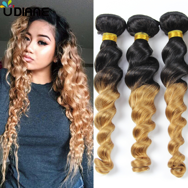 Brazilian Virgin Hair Loose Wave Ombre Hair Extensions 3pcs Blonde