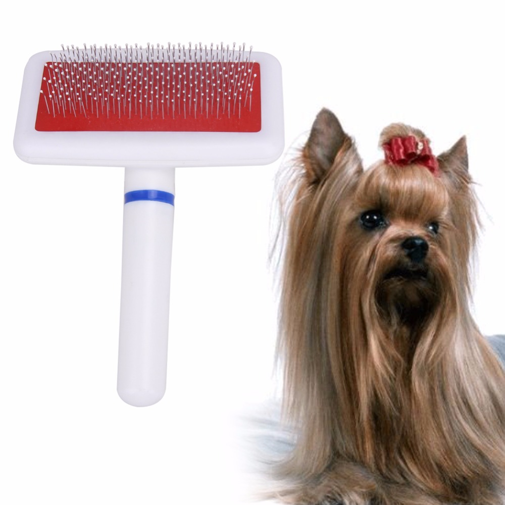 Free Shipping Red Puppy Cat Hair Grooming Slicker Comb Gilling Brush Quick Clean Tool Pet Brand New