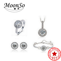 Moonso Real Sterling Silver 925 CZ Wedding Engagement Bridal Genuine Simulated Jewelry Sets for women LJ304S