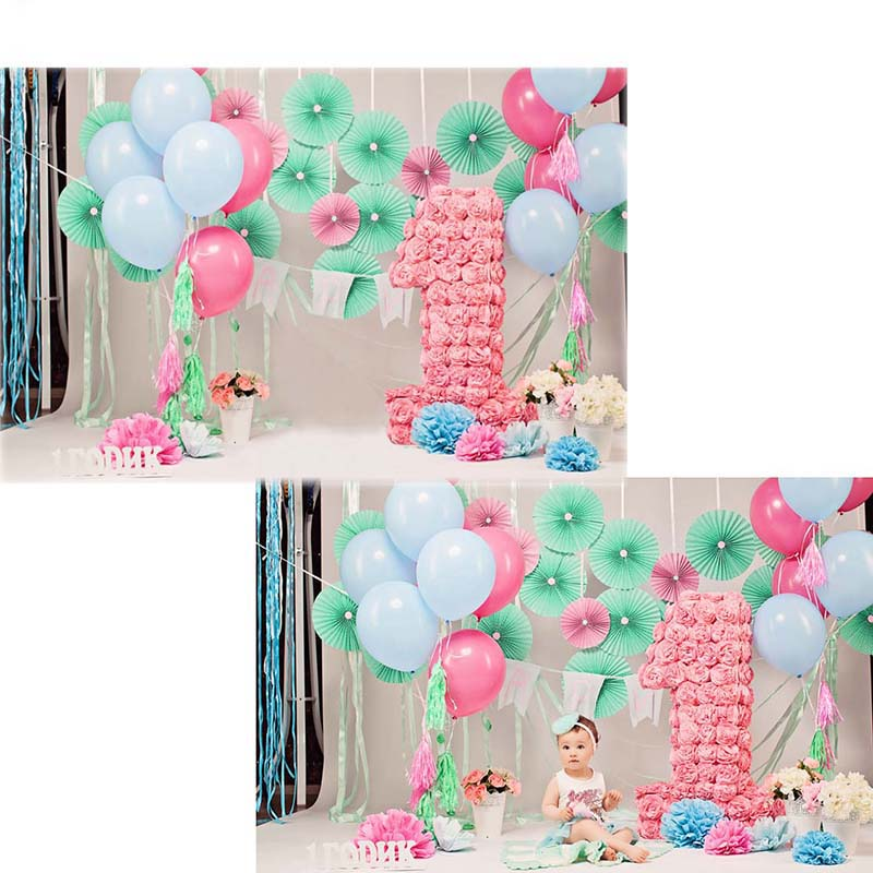 Balloon Vinyl Photography Background For Birthday Party Oxford Backdrop For Newborn photo studio Props F2751