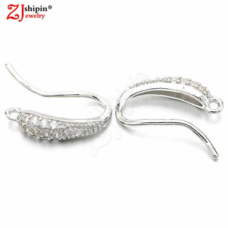 ZJSHIPIN new charm micro-inlaid zircon CZ earrings ear hook jewelry accessories suitable for DIY tassel jewelry production