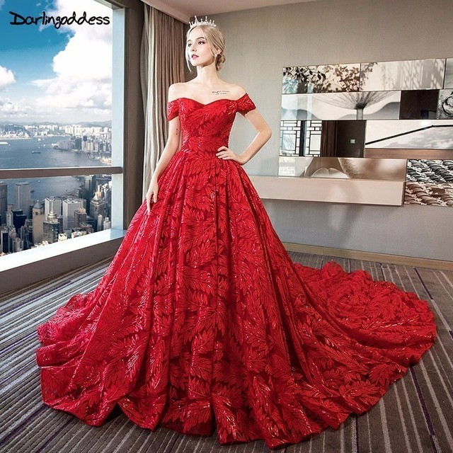 070b20812d0 Darlingoddess Luxury Bling Wedding Dresses 2018 Ball Gown Long Tail Red  Ivory Wedding Dress Lace Up Short Sleeve Bridal Dress