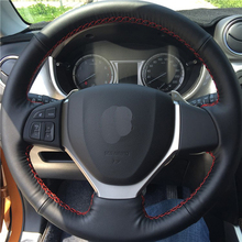 hot deal buy high quality cowhide top layer leather handmade sewing steering wheel covers protect for suzuki celerio s-cross sx4/vitara